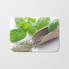 Basil herbs for kitchen Bath Mat