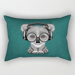 Cute Baby Koala Bear Dj Wearing Headphones on Blue Rectangular Pillow