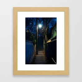 Path by streetlight Framed Art Print