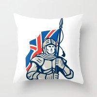 british flag Throw Pillows featuring Knight British Flag Retro by patrimonio