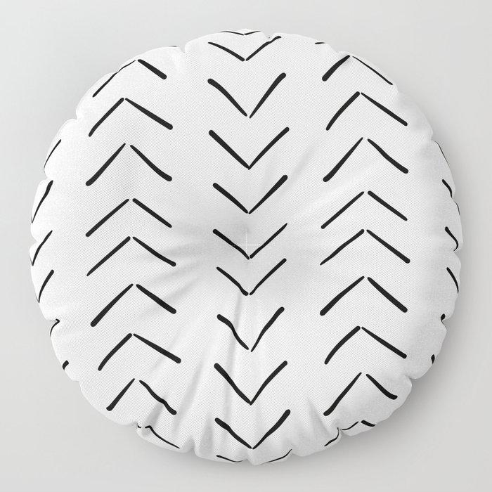 Mud Cloth Big Arrows in Cream Floor Pillow