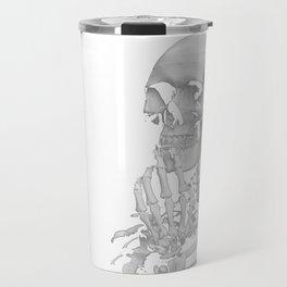 Thinking Skeleton (Black and White) Travel Mug