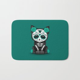 Cute Teal Blue Day of the Dead Kitten Cat Bath Mat
