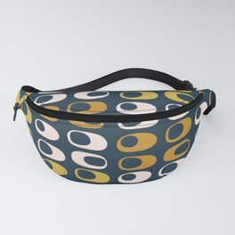 Midcentury Modern Pods 2 Minimalist Abstract Pattern in Mustard, Pale Pink, and Navy Fanny Pack
