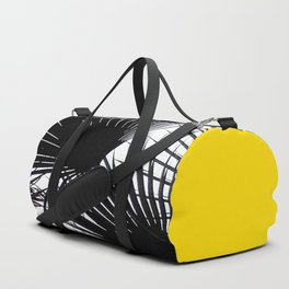 Black and White Tropical Palm Leaves on Sunny Yellow Duffle Bag