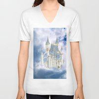 fairytale V-neck T-shirts featuring Fairytale Castle by Simone Gatterwe