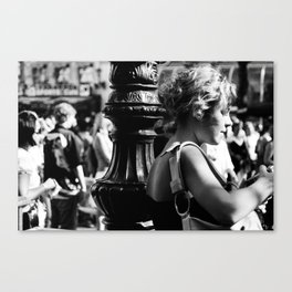 Girl with camera in Amsterdam Canvas Print