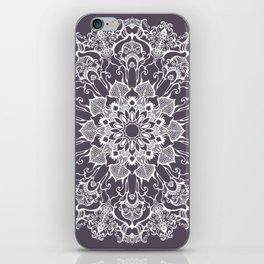 hand drawn white mandala on dark violet background iPhone Skin