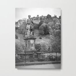allan ramsay statue and edinburgh castle Scotland Metal Print
