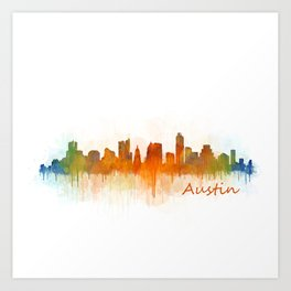Austin Texas, City Skyline, watercolor  Cityscape Hq v3 Art Print