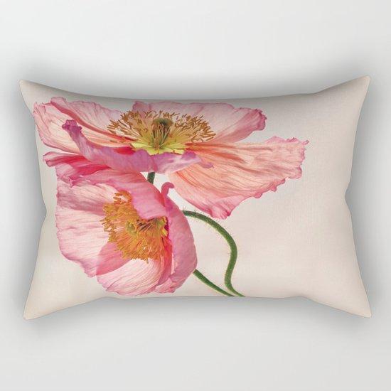 Like Light through Silk - peach / pink translucent poppy floral Rectangular Pillow