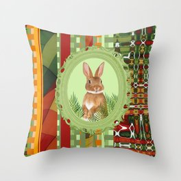 Bunny in green frame with geometric background stripes Throw Pillow