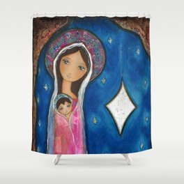 Nativity Star III by Flor Larios Shower Curtain