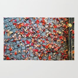 Red Leave, Gray Stones Rug