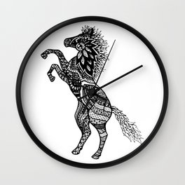 Rearing Horse Zentangle (abstract doodle) Wall Clock