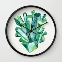 emerald Wall Clocks featuring Emerald Watercolor by Cat Coquillette