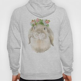 Lop Rabbit Floral Wreath Watercolor Painting Hoody
