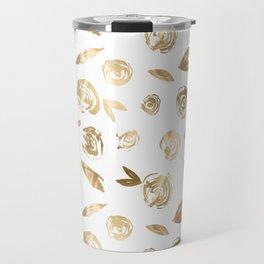 Gold Roses Rosette Pattern Golden on White Travel Mug