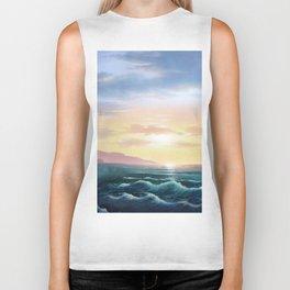 Abstract sunset nautical blue waves landscape Biker Tank