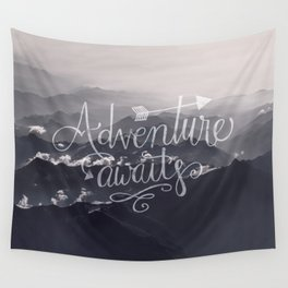 Adventure awaits Typography Gorgeous Mountain View Wall Tapestry