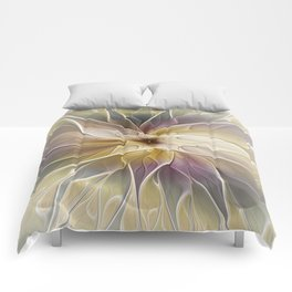 Floral Fantasy, Abstract Fractal Art Comforters