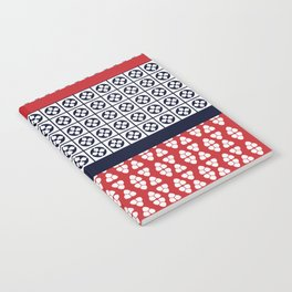 Japanese Style Ethnic Quilt Blue and Red Notebook