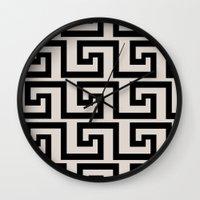 greek Wall Clocks featuring Greek Key by Charlene McCoy