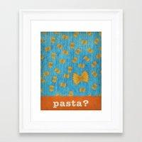 pasta Framed Art Prints featuring pasta? by Linda Tieu