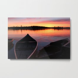 Sunset Canoe and kayaks Metal Print