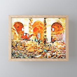 L'Aquila: bulldozer and firefighters on the rubble in the interior of church destroyed Framed Mini Art Print