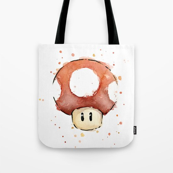 Red Mushroom Watercolor Mario Art Nintendo Geek Gaming Tote Bag