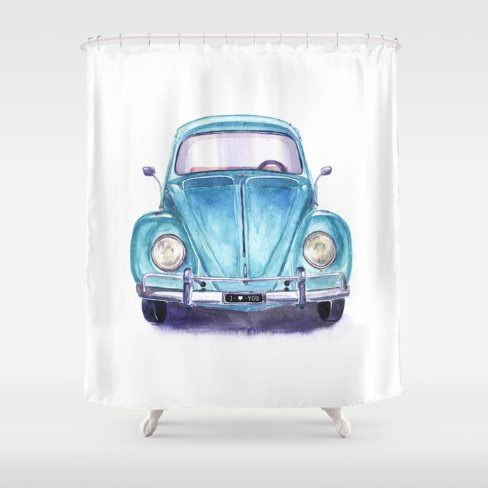 Vintage Blue Car Shower Curtain