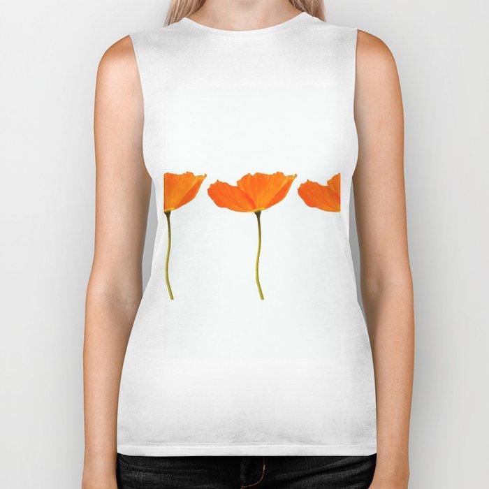 Three Orange Poppy Flowers White Background #decor #society6 #buyart Biker Tank