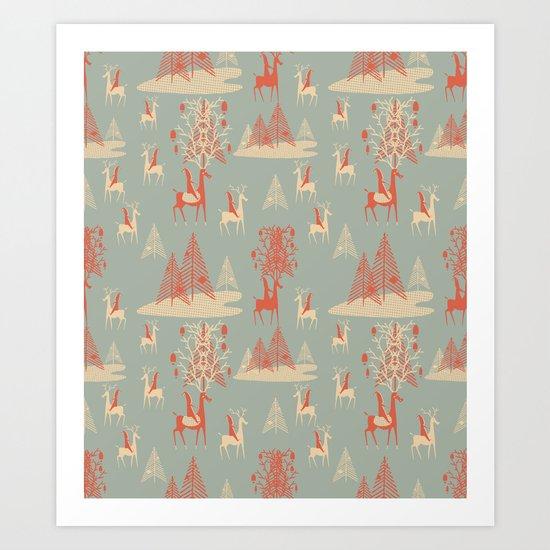 Reindeer, Trees and Elves Art Print