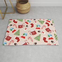 Festive Red Christmas Cookie Illustration Pattern Rug