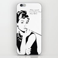 audrey hepburn iPhone & iPod Skins featuring AUDREY HEPBURN by MATT WARING
