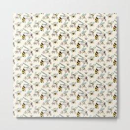 Bees Animals Beekeeping Pattern Gift Metal Print