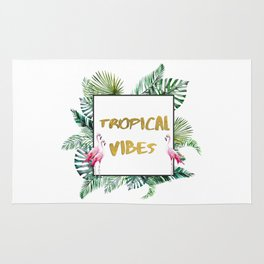 Aloha - Tropical Vibes Typography with Palm Leaves and Flamingo Rug