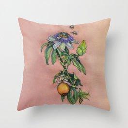 "Passiflora Caerulea ""Blue Passion Flower"" by Betsy VanDeusen Throw Pillow"