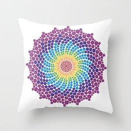 7 Chakra Color Dots Mandala Throw Pillow