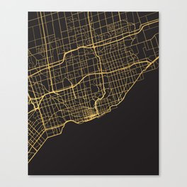 TORONTO CANADA GOLD ON BLACK CITY MAP Canvas Print