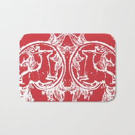 twin dancing stags of asheville from a wood carving Bath Mat