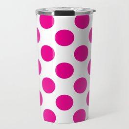Pink Large Polka Dots Pattern Travel Mug