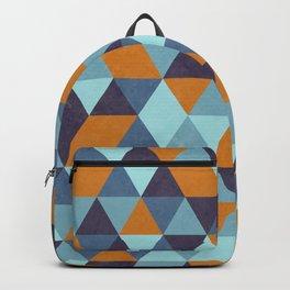 Triangle pattern orange & blue Backpack