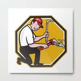 Plumber Repair Faucet Tap Cartoon Metal Print