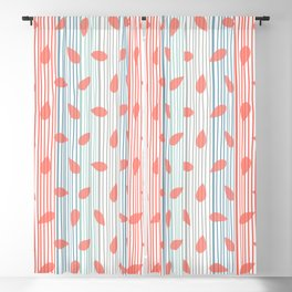 Colorful Wavy Lines with Transparent Coral Leaves Blackout Curtain