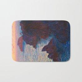 Claude Monet Impressionist Landscape Oil Painting Sunset At Sea Cliffs Ocean Cliff Landscape Bath Mat