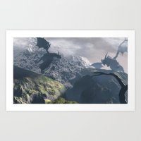 dragons Art Prints featuring Dragons by Klaudia Jozwiak