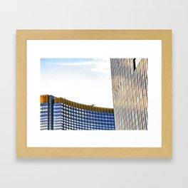modern buildings with blue at Las Vegas, USA Framed Art Print