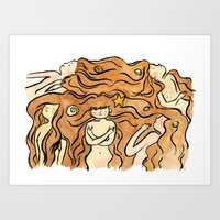 mermaids Art Prints featuring Mermaids by Janaína Esmeraldo